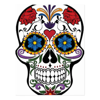 Crânio floral engraçado cartão postal