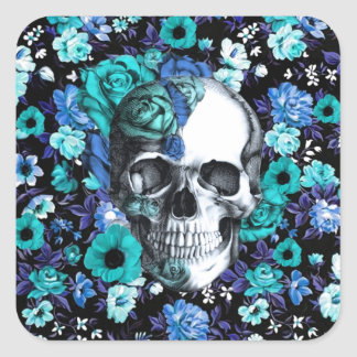 Crânio floral retro azul e da hortelã adesivo quadrado