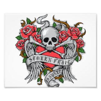 Crânio florido do vintage legal com tatuagem das impressão de foto