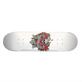 Crânio florido do vintage legal com tatuagem das shape de skate 18,4cm