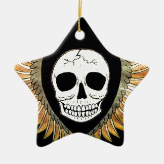 Crânio gótico & asas ornamento de cerâmica