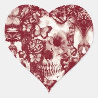 Crânio gótico do laço do Victorian Adesivo Coração