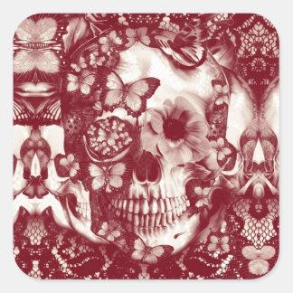 Crânio gótico do laço do Victorian Adesivo Em Forma Quadrada
