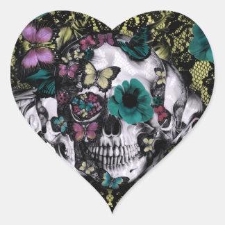 Crânio gótico do laço do Victorian com cor retro Adesivo Coração