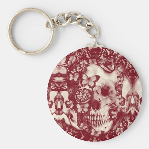 Crânio gótico do laço do Victorian Chaveiros