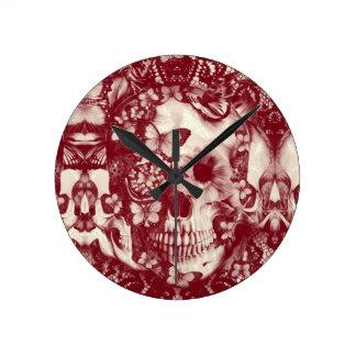 Crânio gótico do laço do Victorian Relógio De Parede