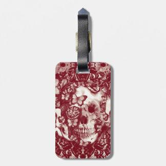 Crânio gótico do laço do Victorian Tag Para Bagagem