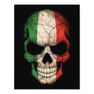 Crânio italiano da bandeira no preto convite personalizado