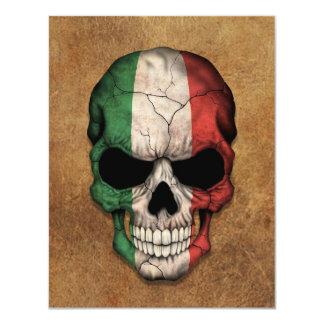 Crânio italiano envelhecido e vestido da bandeira convite