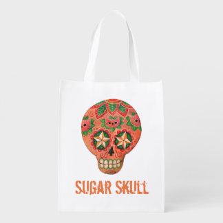 Crânio mexicano vermelho do açúcar sacola reusável
