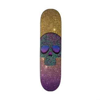 Crânio na moda feminino do brilho do falso skateboard