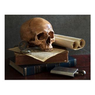 Crânio no cartão dos livros