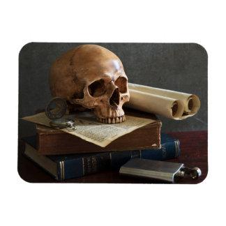 Crânio no ímã da foto dos livros
