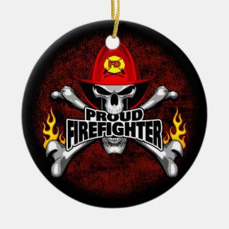 Crânio orgulhoso e Crossbones do sapador-bombeiro Ornamento De Cerâmica