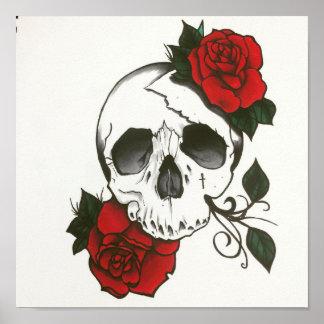 Crânio & poster dos rosas