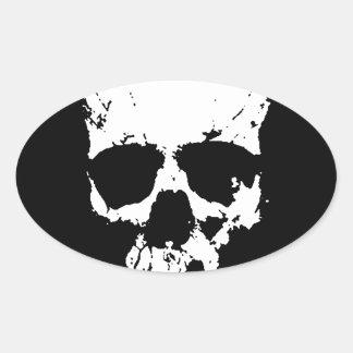 Crânio preto & branco adesivo oval