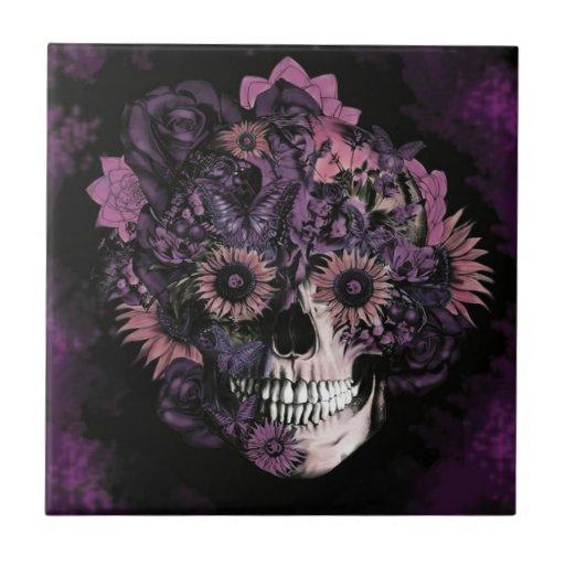 Crânio roxo do ohm com splatters. da pintura azulejo
