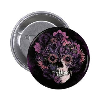 Crânio roxo do ohm com splatters da pintura botons