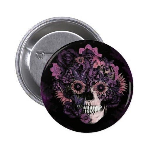Crânio roxo do ohm com splatters. da pintura botons