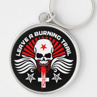 Crânio satânico e slogan do motociclista chaveiro redondo na cor prata