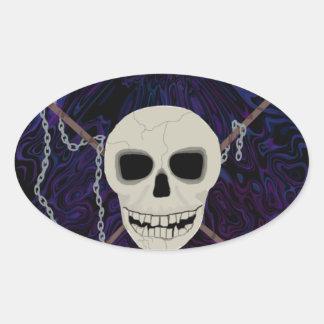Crânio & Scythes Adesivo Oval