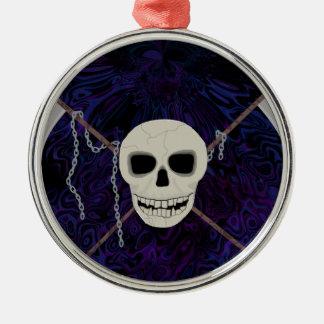 Crânio & Scythes Ornamento De Metal