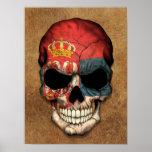 Crânio sérvio envelhecido e vestido da bandeira poster