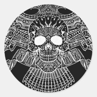 Crânio simétrico com armas e balas pelo Al Rio Adesivo Em Formato Redondo