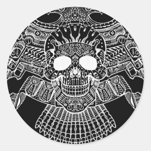 Crânio simétrico com armas e balas pelo Al Rio Adesivo Redondo