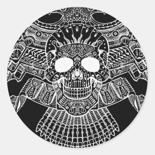 Crânio simétrico com armas e balas pelo Al Rio Adesivo