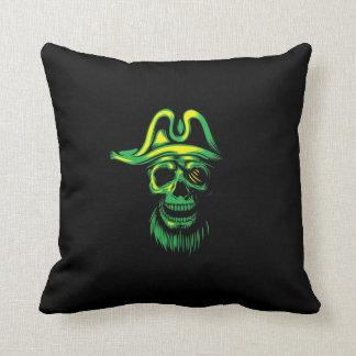 Crânio verde de néon do pirata almofada