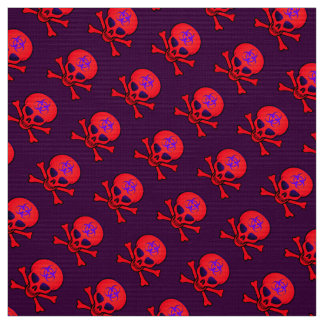 Crânio vermelho e Crossbones do Biohazard Tecido