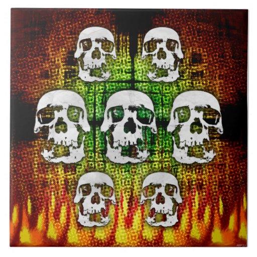 Crânios assustadores do Dia das Bruxas Azulejo De Cerâmica