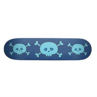 Crânios azuis Funky dos desenhos animados Shape De Skate 21,6cm