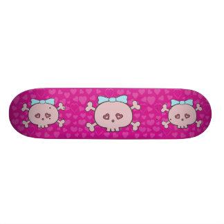 Crânios cor-de-rosa bonitos dos desenhos animados  shape de skate 18,4cm