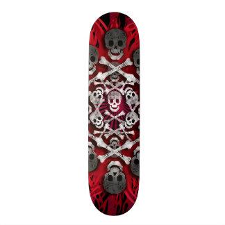 crânios e chamas shape de skate 18,4cm
