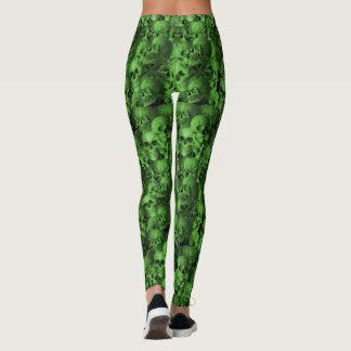 Crânios verdes & pretos legging