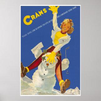 Crans - Montana, Suisse, poster de viagens do