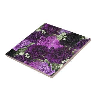 Cravos do roxo do buquê azulejo quadrado pequeno