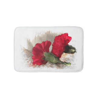 Cravos vermelhos em esteiras de banho de brocado tapete de banheiro