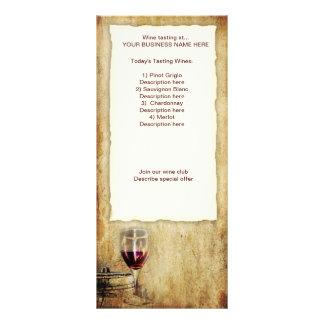 cremalheira de cartão da degustação de vinhos 10.16 x 22.86cm panfleto
