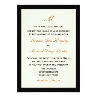 Creme barato simples do casamento com preto convite 12.7 x 17.78cm