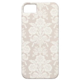 Creme/capa de telefone floral bege do damasco capa barely there para iPhone 5