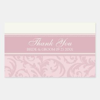 Creme e obrigado do rosa você Tag do favor do Adesivo Retangular