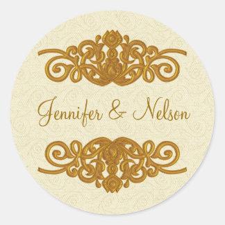 Creme elegante & selo goldtone do envelope do adesivo