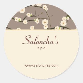 Creme floral da etiqueta da flor de cerejeira dos adesivos em formato redondos