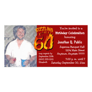 Crepitante na foto de 60 festas de aniversário cartão com foto