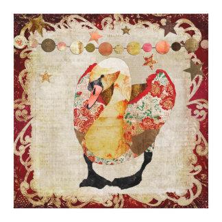 Crepúsculo vermelho brilhante da cisne cor-de-rosa impressão em canvas