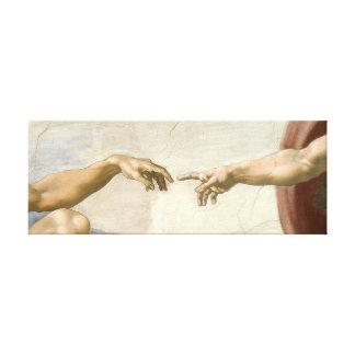 Criação das mãos de Adam - Michelangelo. Impressão Em Canvas