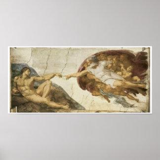 Criação de Adam, 1510, Michelangelo Pôster